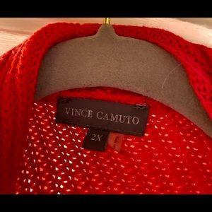 Red Bottom fringe Vince Camuto open sweater NWOT